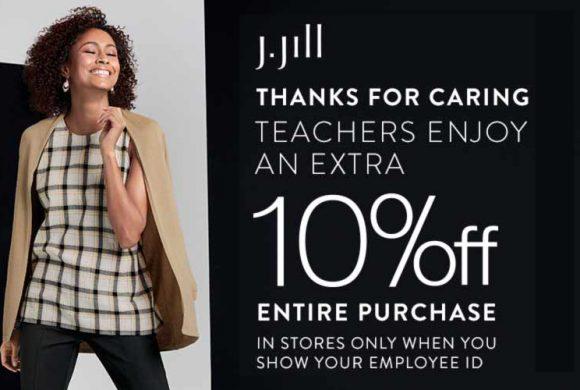 Teachers enjoy an extra 10% off entire purchase at J.Jill!
